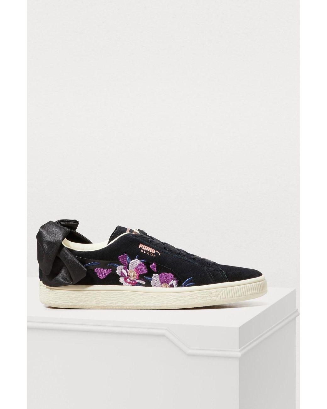 Noir Coloris Baskets Bow De À Femme Fleurs wOPXiTZku