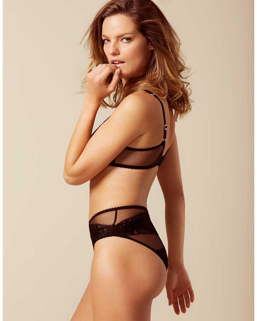 Angelica Larsson Nude agent provocateur lace angelica brief black - lyst