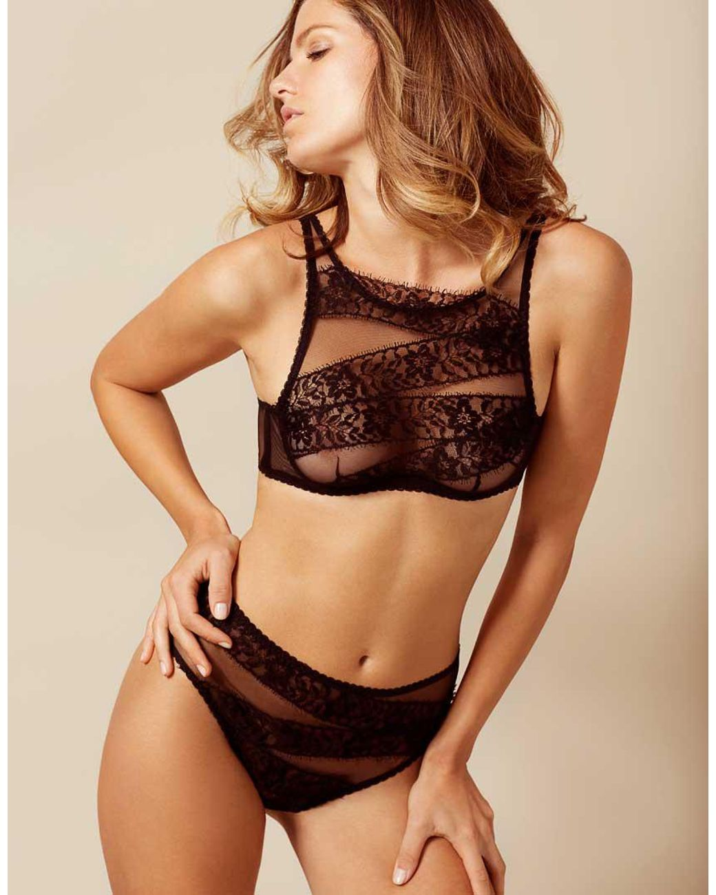 Angelica Larsson Nude agent provocateur lace angelica bra black - lyst