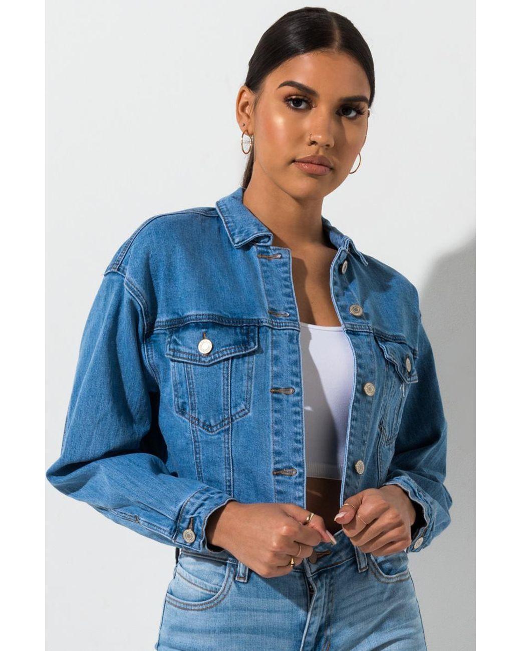 48bbaf393 Women's Blue Everyday Oversized Raw Edge Cropped Denim Jacket