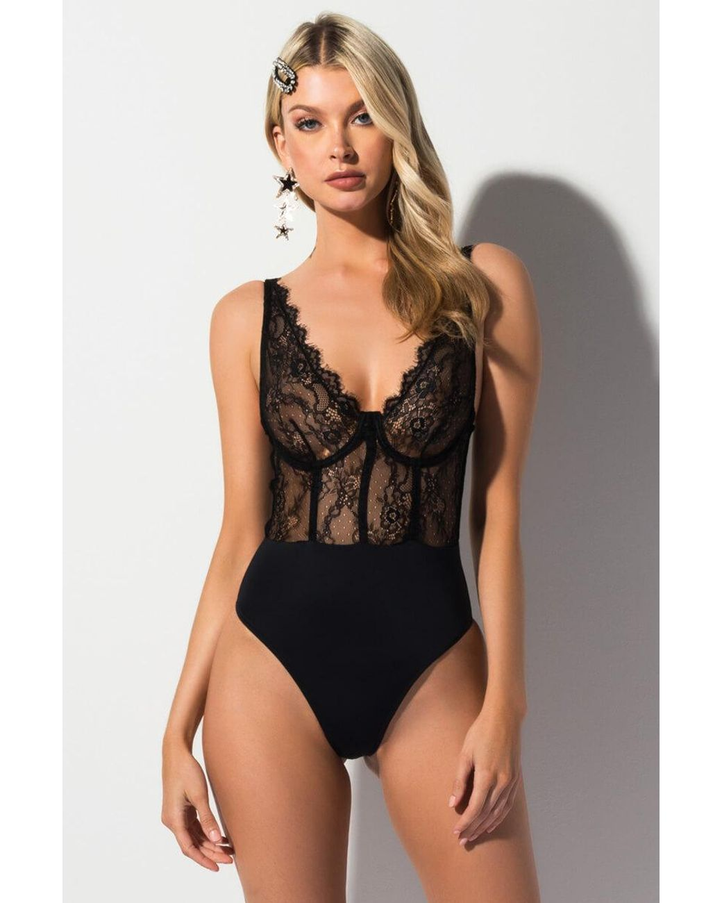 Amazon Eve Topless akira eve sexy lounge lace bodysuit in black - lyst