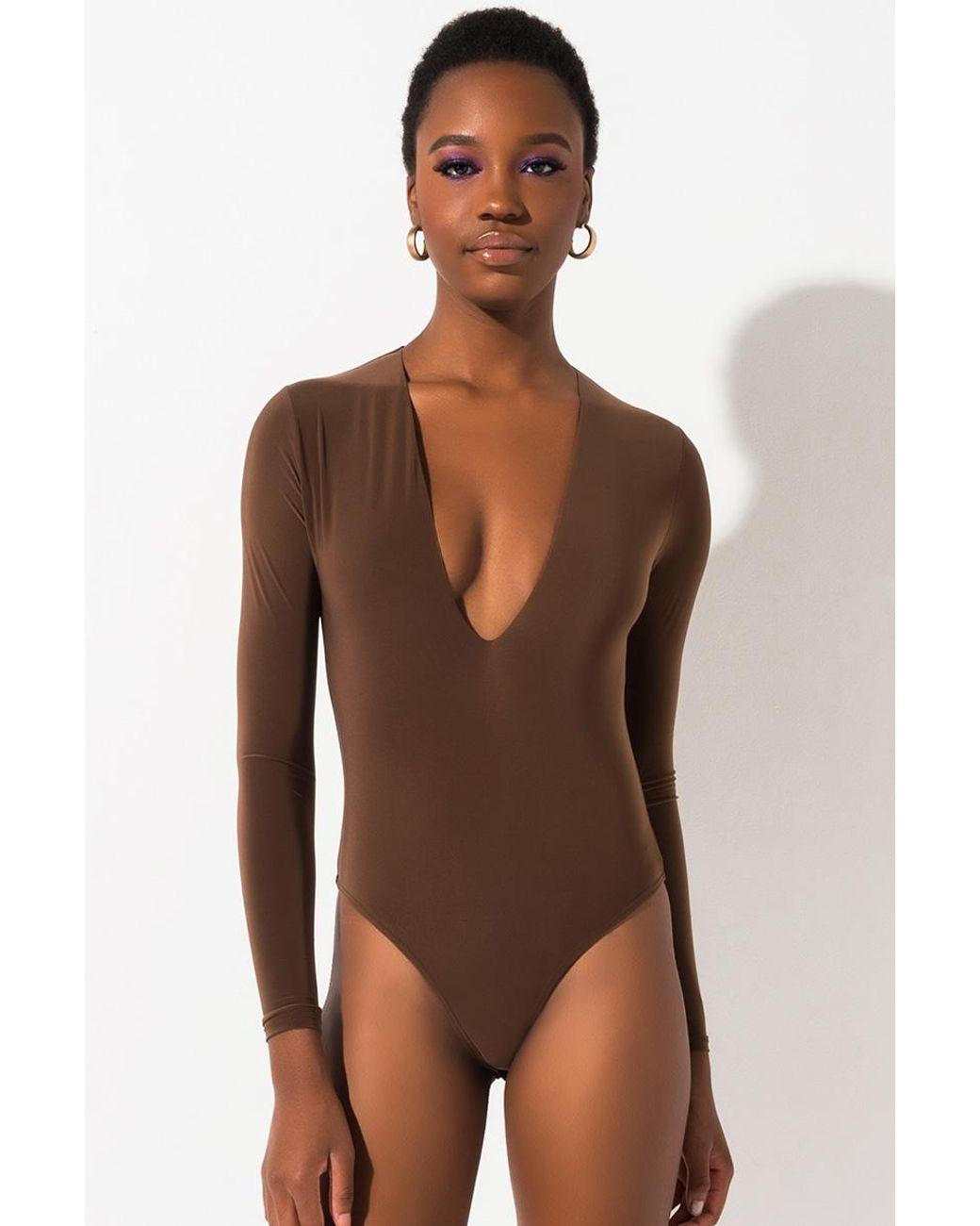 WSPLYSPJY Women Fashion Long Sleeve V-Neck Ribbed Stretchy Bodysuit Leotard Tops