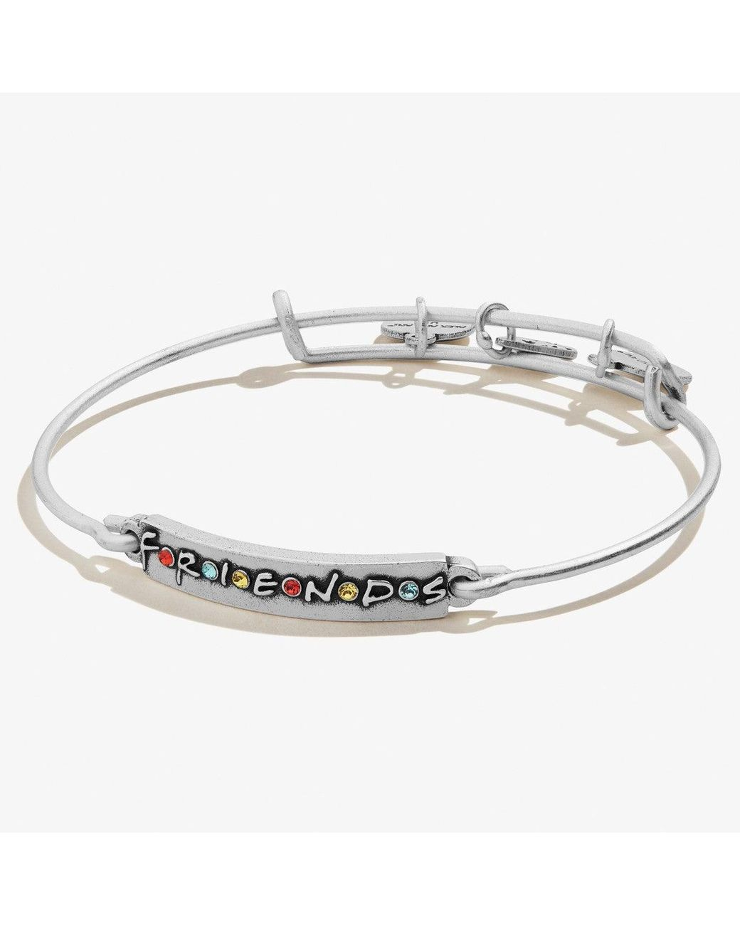 Alex And Ani Friends Logo Bar Bangle Bracelet In Silver Metallic