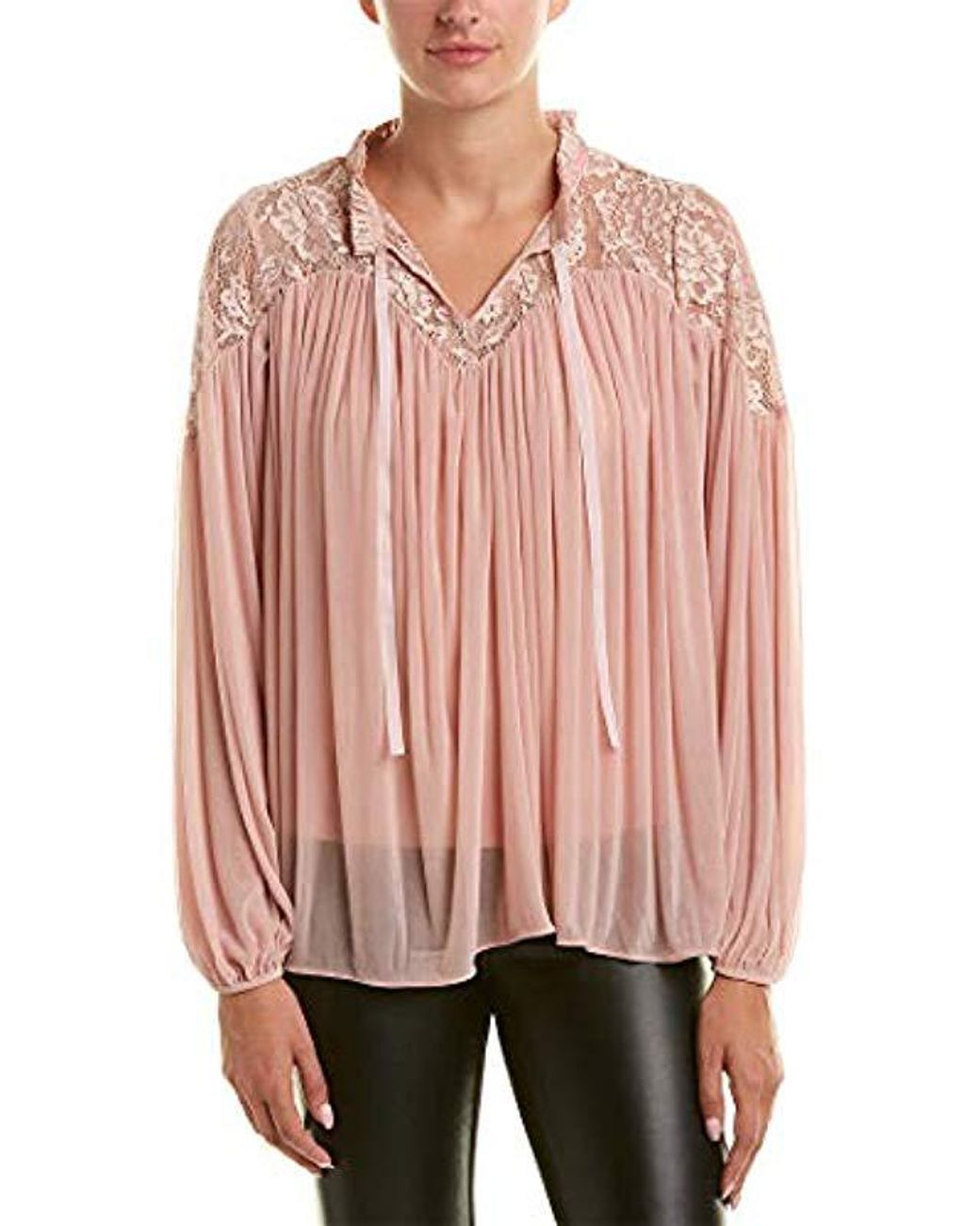 French Connection Womens Lassia Lace Flowy Top