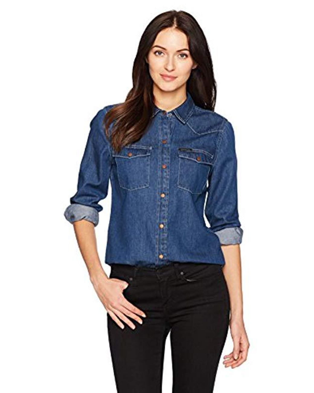 bbc18a516957 Calvin Klein Jeans Long Sleeve Denim Button Down Shirt in Blue - Save 51% -  Lyst