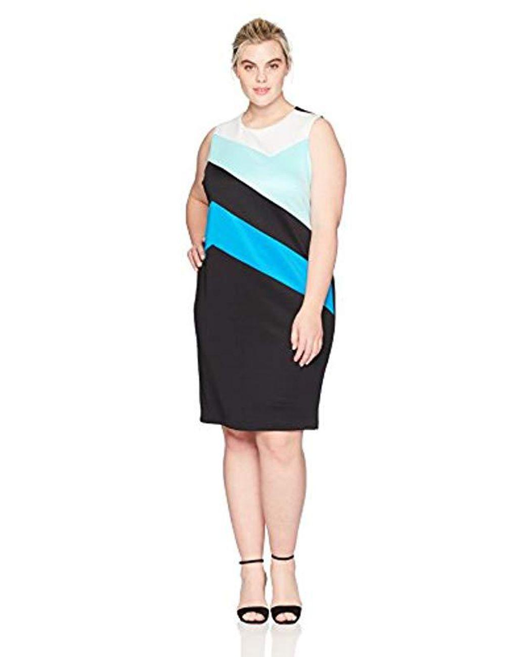 Calvin Klein Plus Size Colorblock Sheath Dress in Black ...