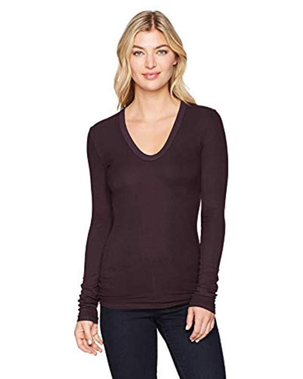 58d551410ce20a Enza Costa Stretch Silk Rib Fitted Long Sleeve U-neck Top in Purple - Lyst
