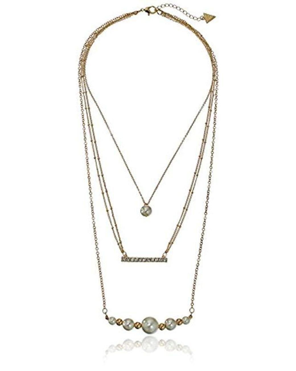 a691bb8b0e958 Women's Metallic 3 Row Pearl Chain Necklace