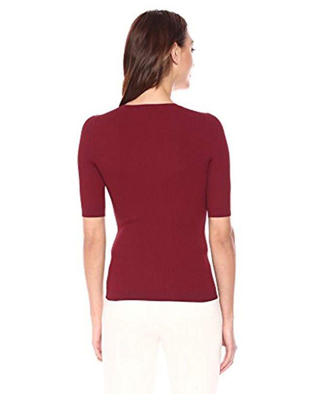 Theory Short Sleeve Tech Rib Crewneck Sweater in Deep Brick