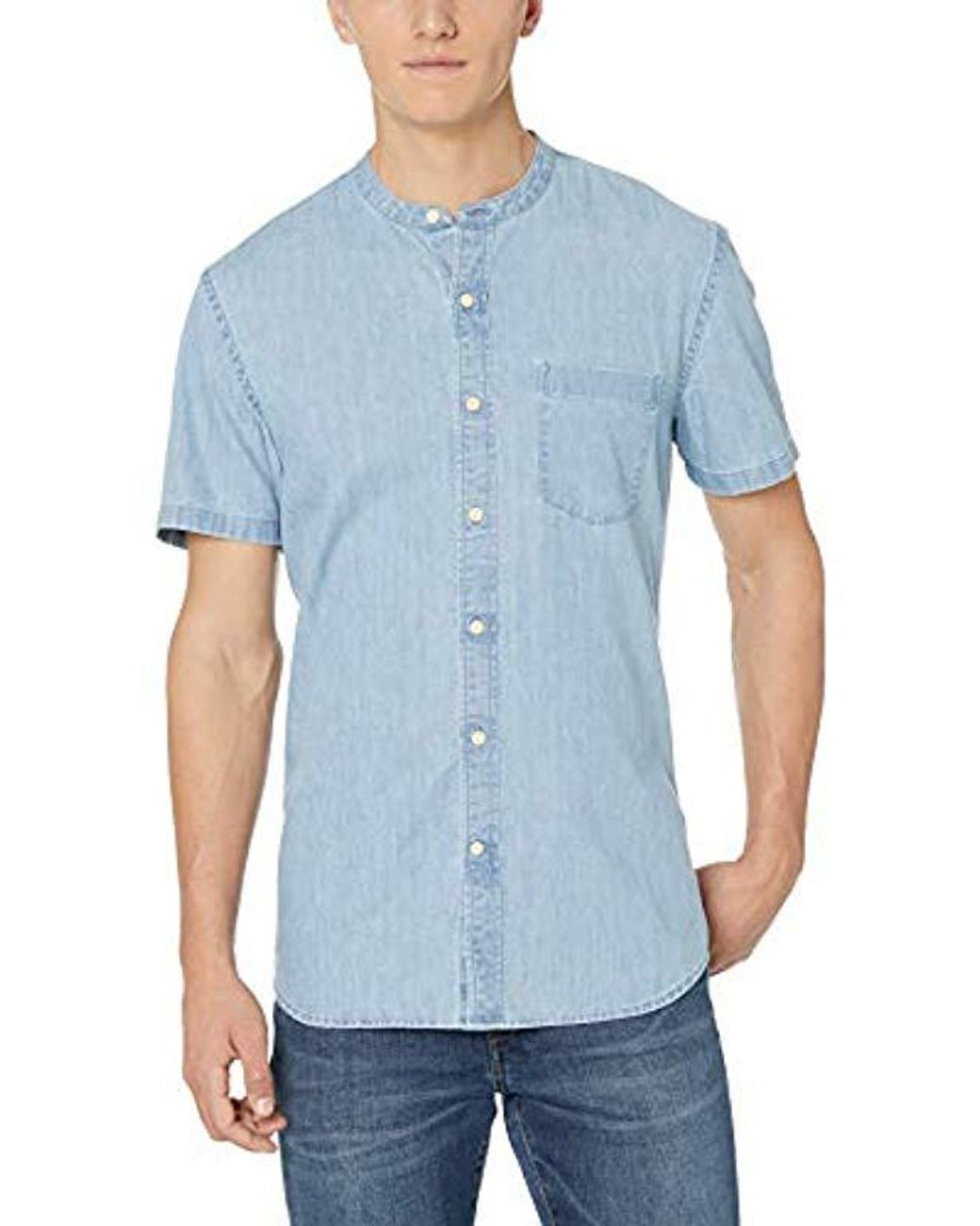 Goodthreads Mens Standard-Fit Short-Sleeve Band-Collar Denim Shirt Brand
