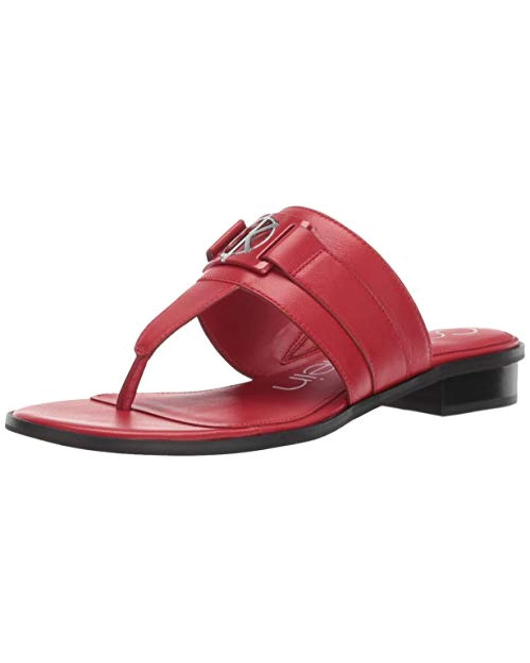 175e4f3e8fda Lyst - Calvin Klein Farley Flat Sandal in Red