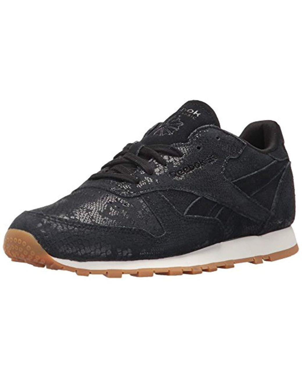Women's Black Cl Lthr Clean Exotic Print Track Shoe