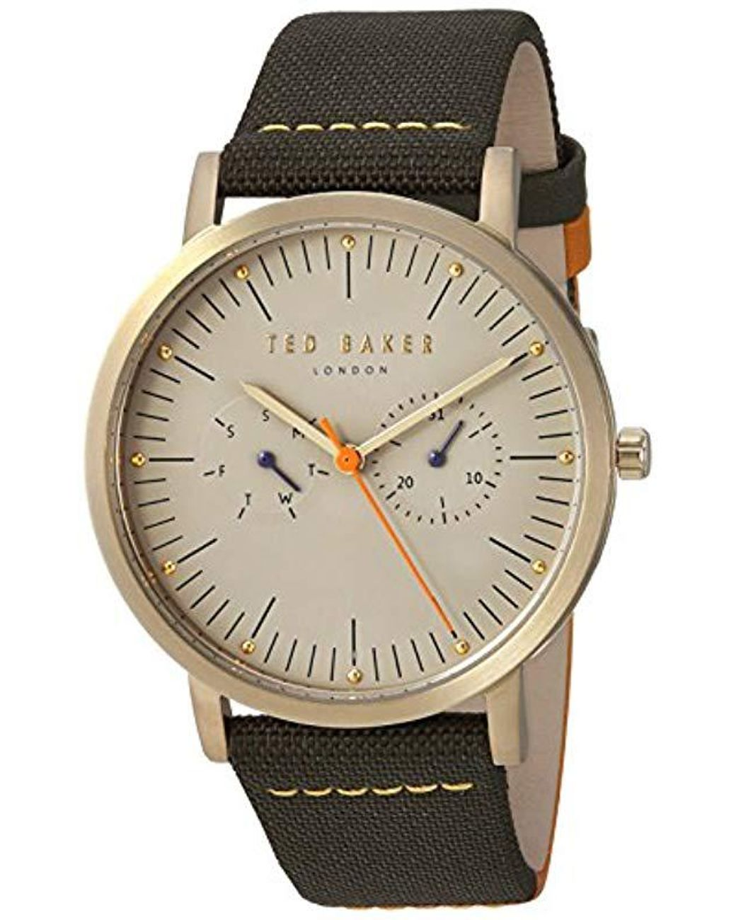 Leather And Watch Men's Gray Casual 'brit' Steel Stainless Quartz QCoEBWrdxe