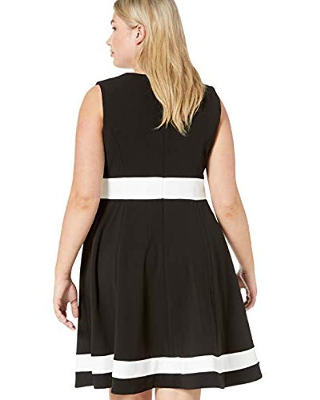 Plus Size Color Block Fit And Flare With Front Zip Dress