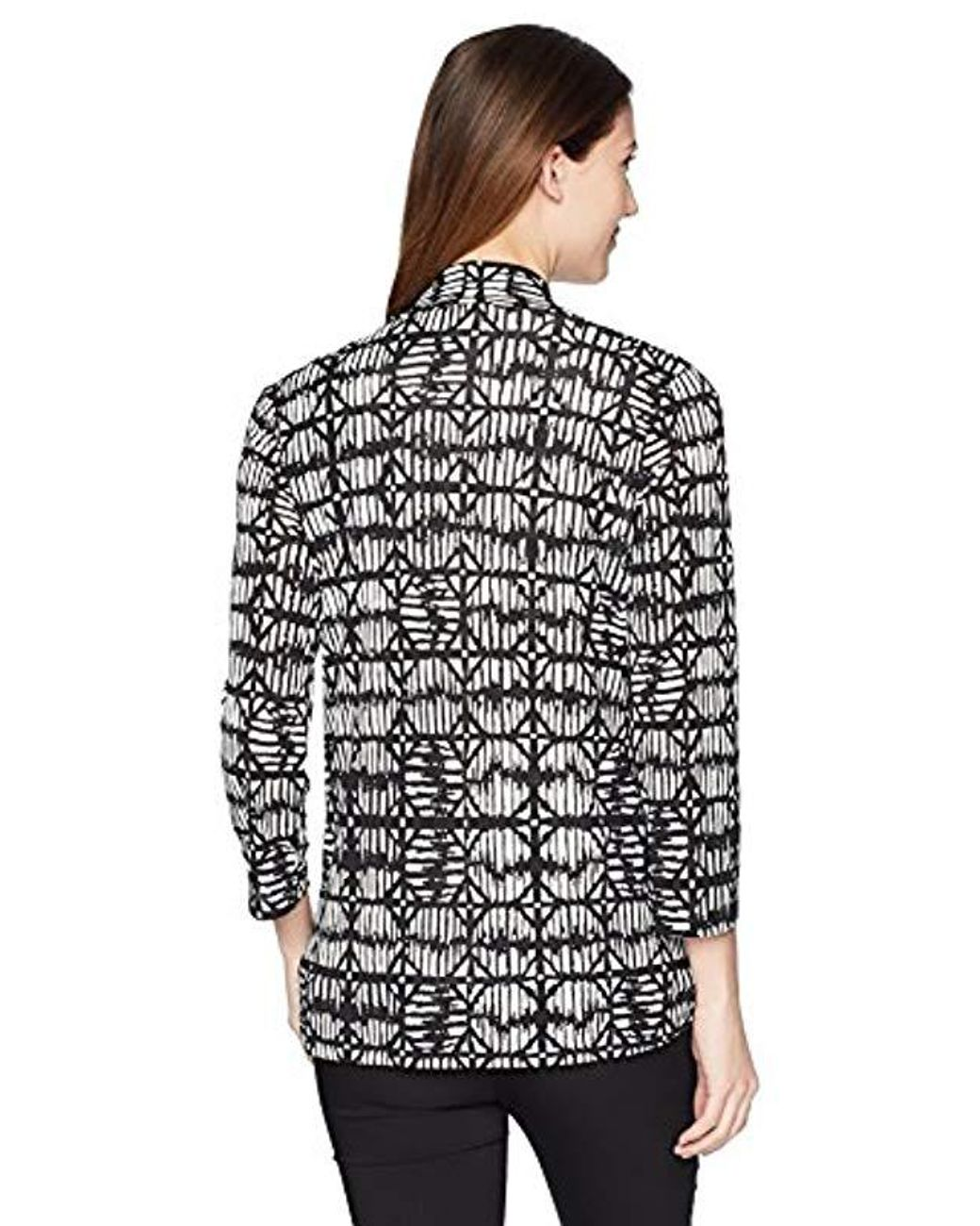 Kasper Women/'s Plus Size 3//4 Sleeve Cardigan with Back Waist Detail Black 1X