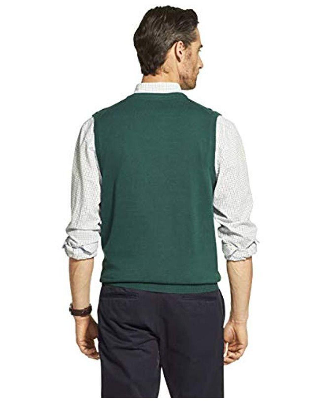 Izod Mens Premium Essentials Solid V-Neck 12 Gauge Sweater Vest Sweater Vest