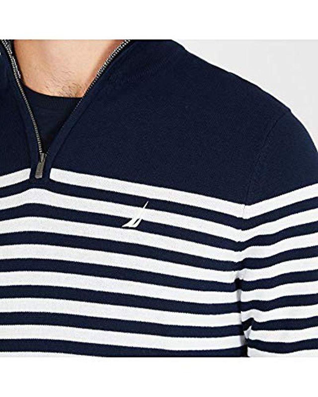 5d635c56b08 Men's Blue Long Sleeve 1/4 Zip Sweater