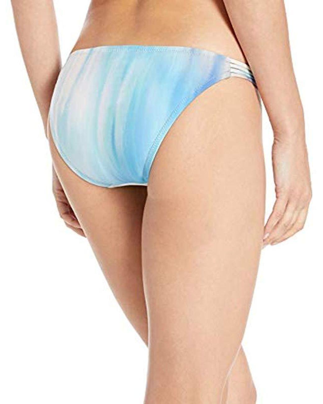 BCBGMAXAZRIA Womens Shirred Side Sash Low-Rise Hipster Bikini Swimsuit Bottom