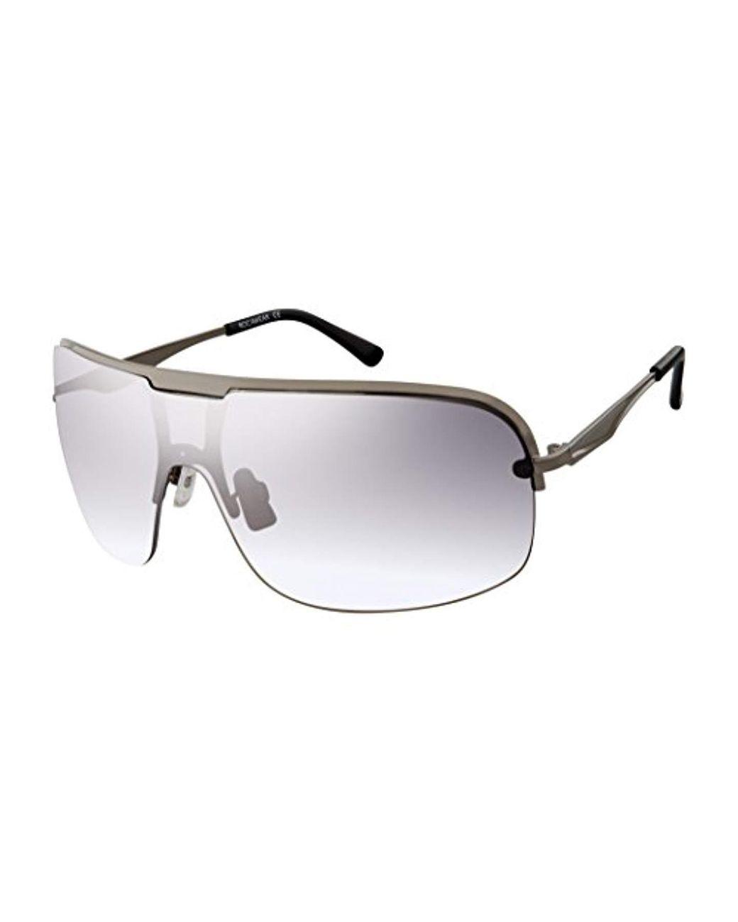 Rocawear Mens R1500 Slvwh Non-Polarized Iridium Aviator Sunglasses Silver White 60 mm