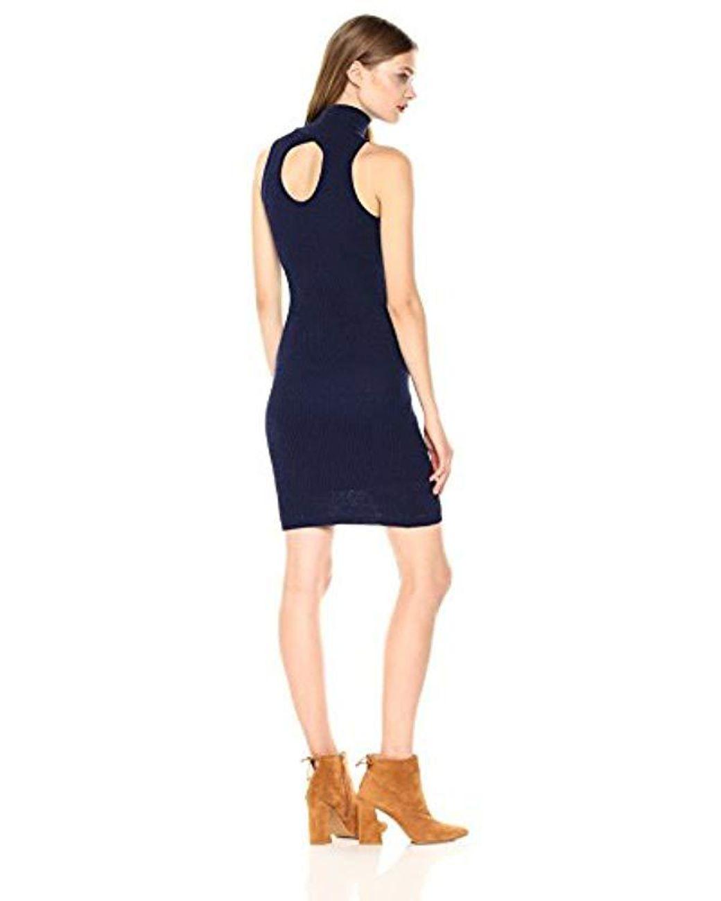 Women's Blue We Shall Overcome Sleeveless Turtleneck Bodycon Sweater Dress