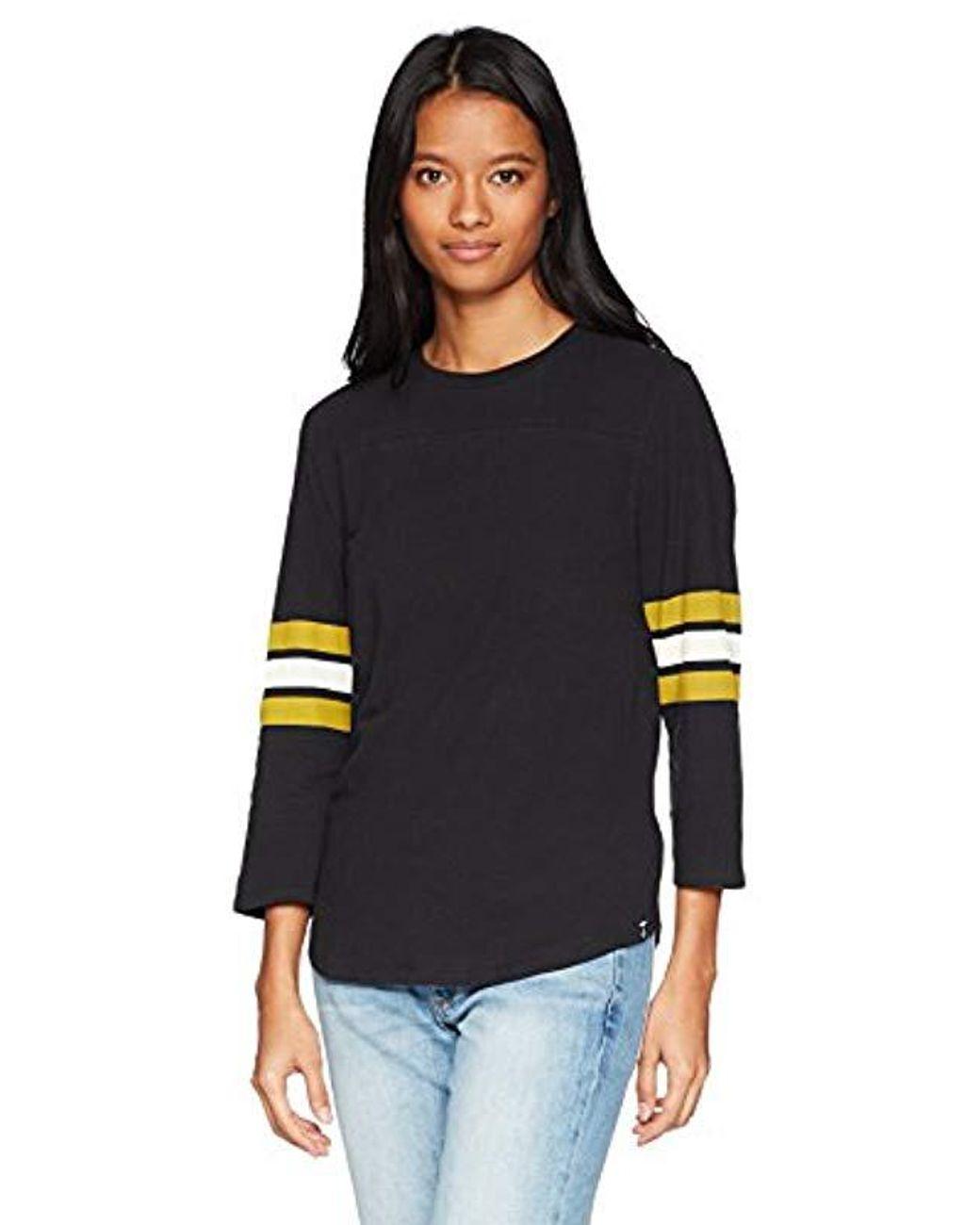 Volcom Womens Outta Here 3//4 Sleeve Scalloped Hem Shirt