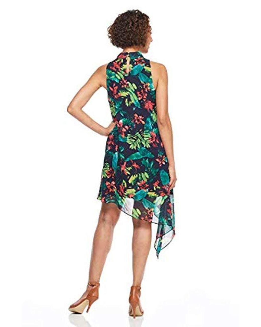 La Maison De Maggy Bondues hot tropics chiffon cocktail dress with asymmetrical hem