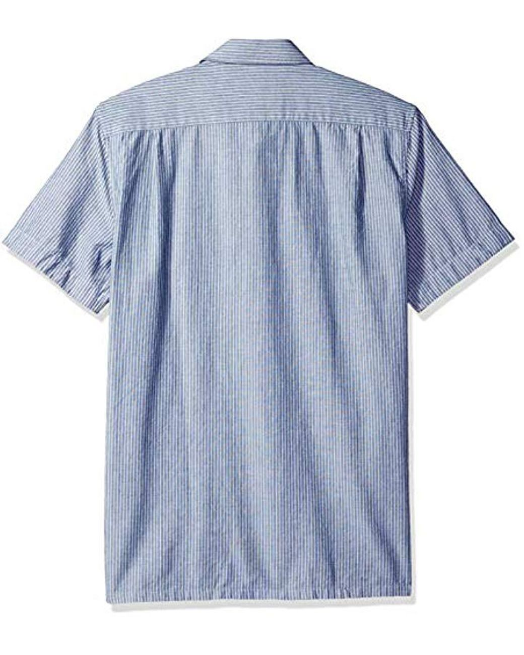 b7c97844 Men's Short Sleeve Reg Fit Blue Pack Striped Chambray Button Down