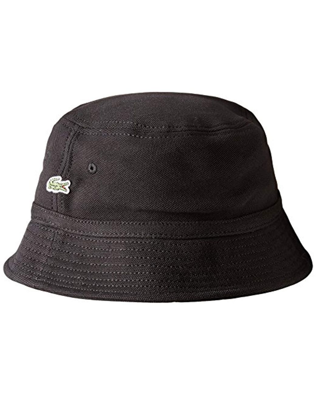 2ce00ae0a36f Lacoste Cotton Pique Bucket Hat in Black for Men - Save 11% - Lyst