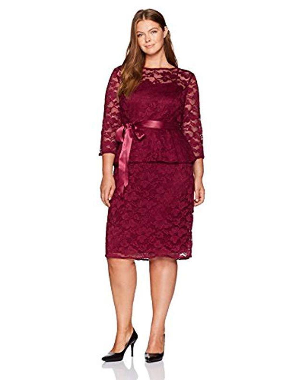 Chetta B Plus Size 3/4 Sleeve Lace Peplum Dress in Garnet ...