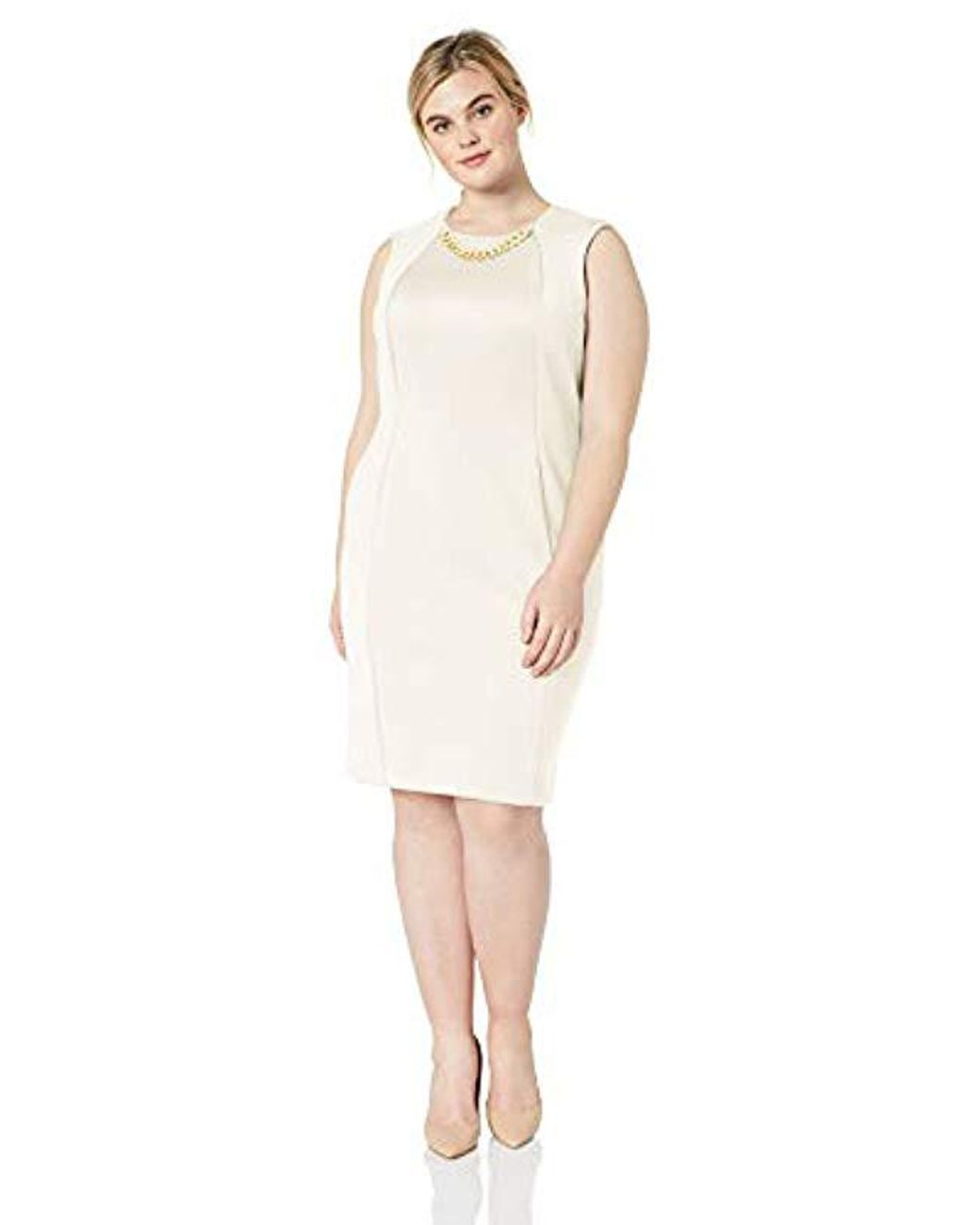 Plus Size Sleeveless Sheath With Chain Necklace Dress
