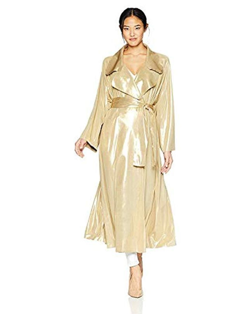 9b54575510a60 Women's Metallic Dolman 80's Flared Midcalf Trench