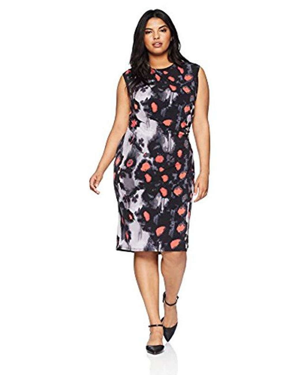 Plus Size Printed Draped Dress