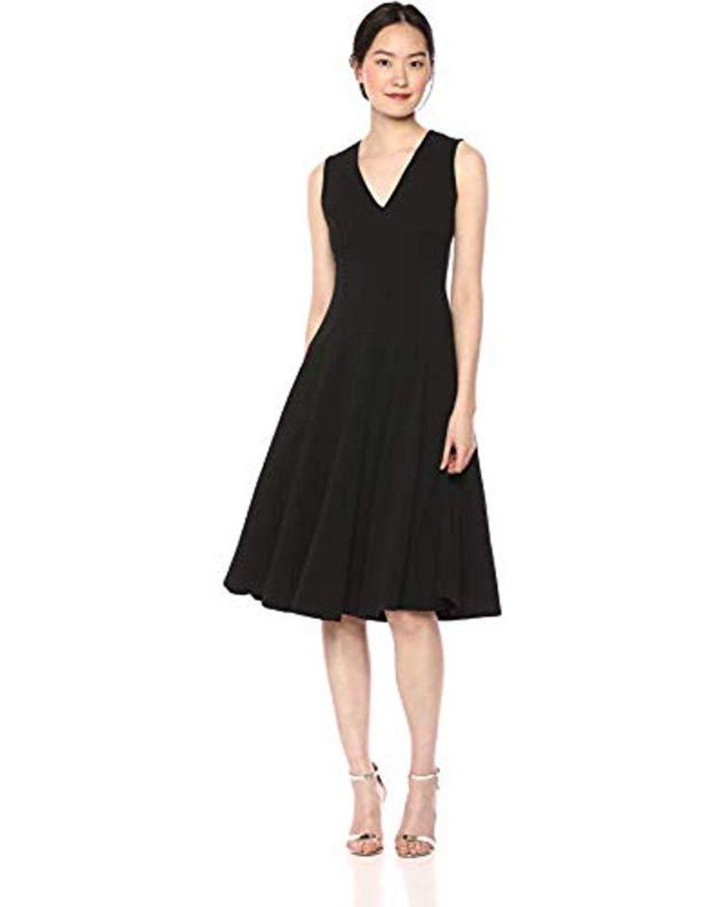 ed81e0367fe Calvin Klein Sleeveless A Line Midi Dress With V Neckline in Black - Lyst