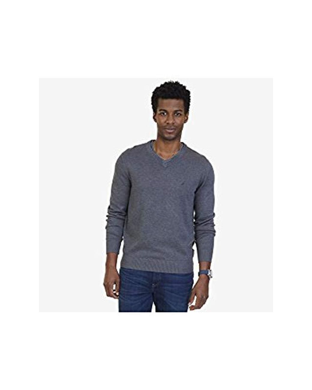 Nautica Long Sleeve Solid Classic V neck Sweater in Gray for