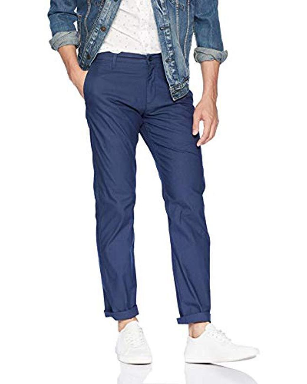 Dockers Men/'s Blue Textured The Broken In Alpha Khaki Slim Tapered Fit Pants