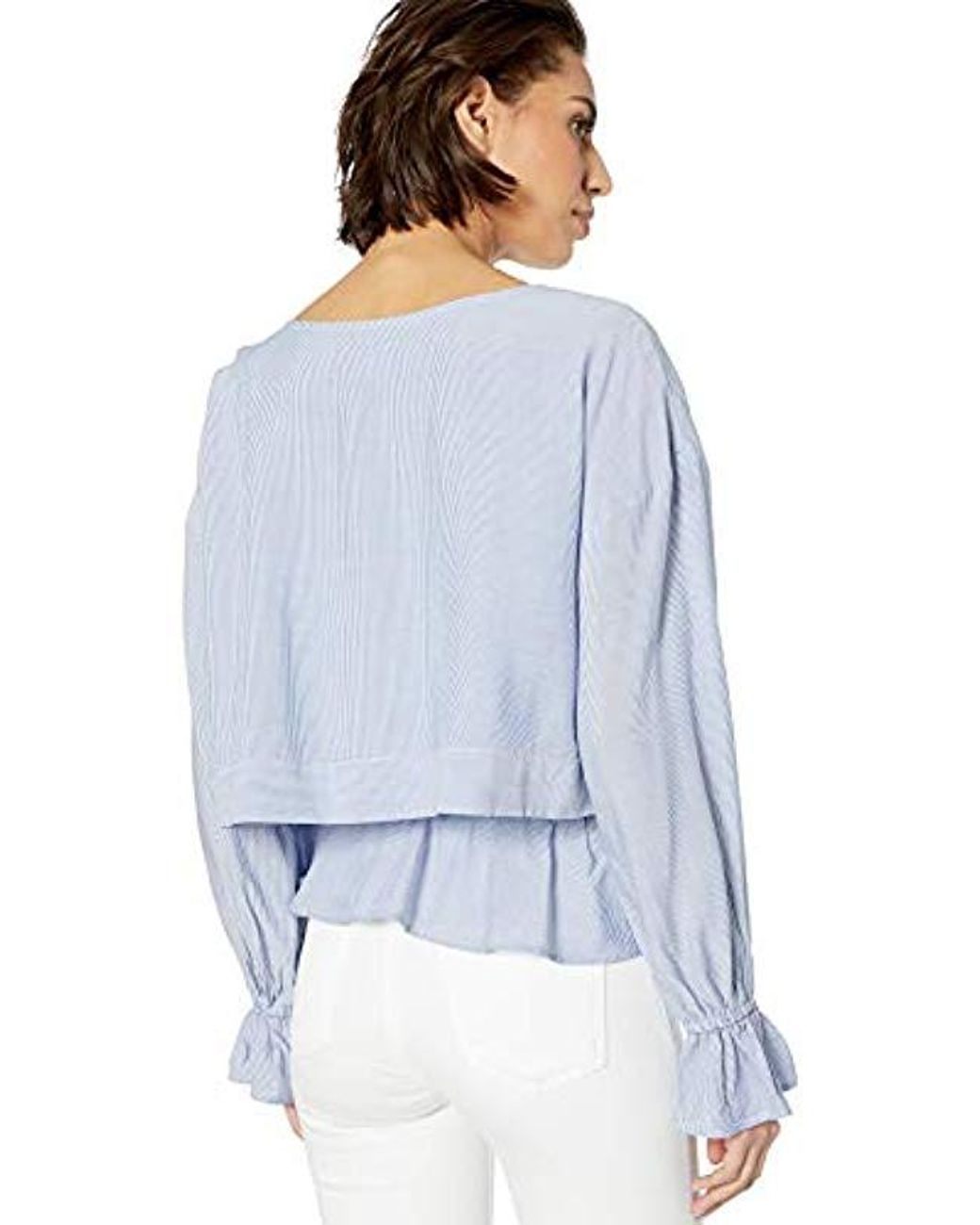 cupcakes and cashmere Womens Syd Yarn Dyed Rayon Stripe Blouse with Open Neckline