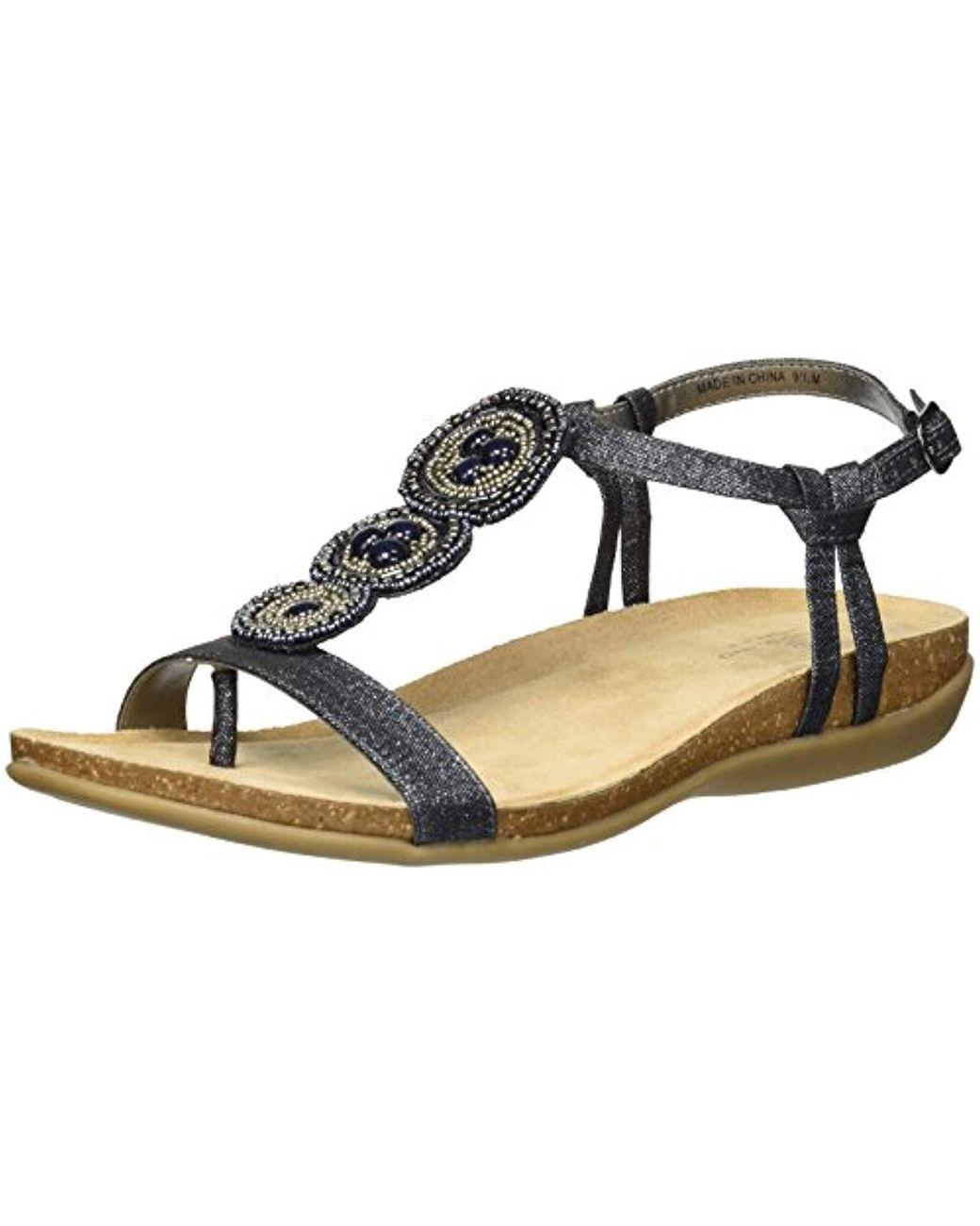 Medium Brown Bandolino Hamper Beaded Front Flat Sandals
