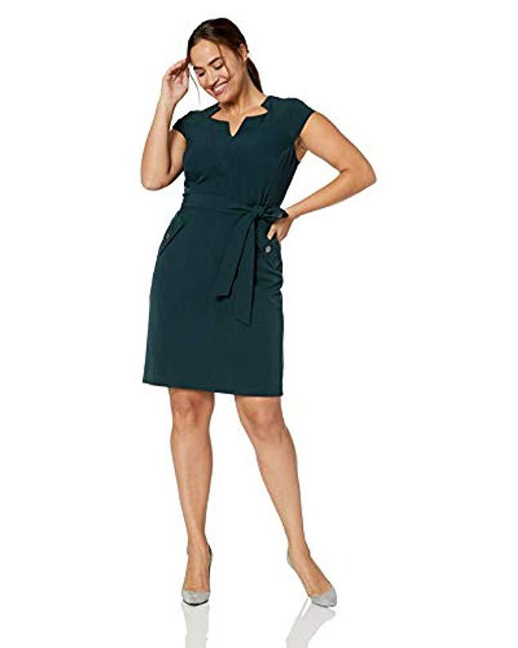 Kasper Womens Cap Sleeve Dress with Cut Out Neck and Self Belt