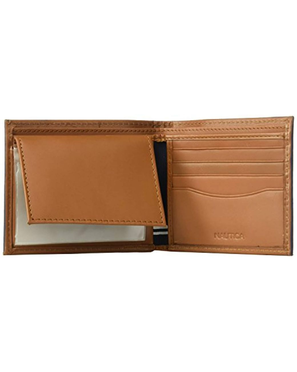 New Nautica Leather Billfold Coin Pocket Men/'s Black RFID Secure Wallet