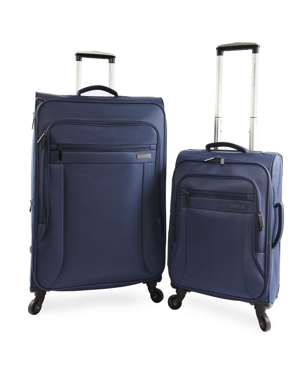 Perry Ellis Luggage Viceroy 2 Piece Set Expandable Suitcase with Spinner Wheels Navy