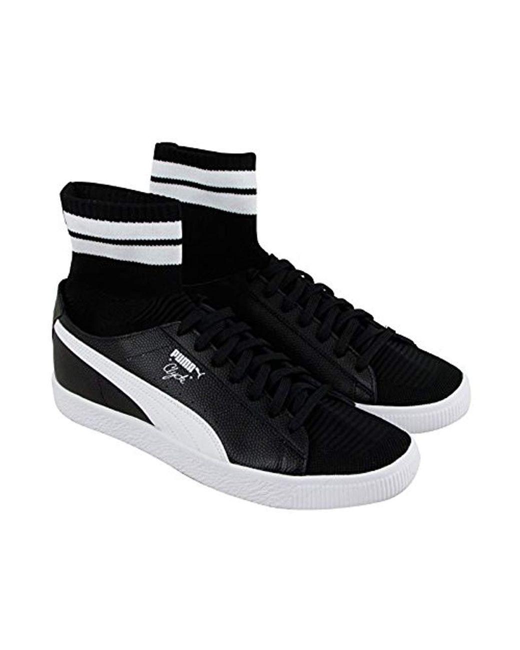 san francisco 8d827 126ec Men's Clyde Sock S Black Leather Lace Up Trainers Shoes