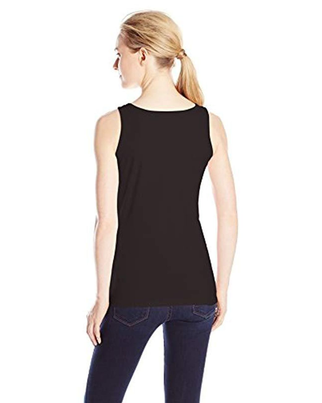 Hanes Cotton L  Jersey Scoop  Neck Wide Strap Graphic Tank Top Orchard