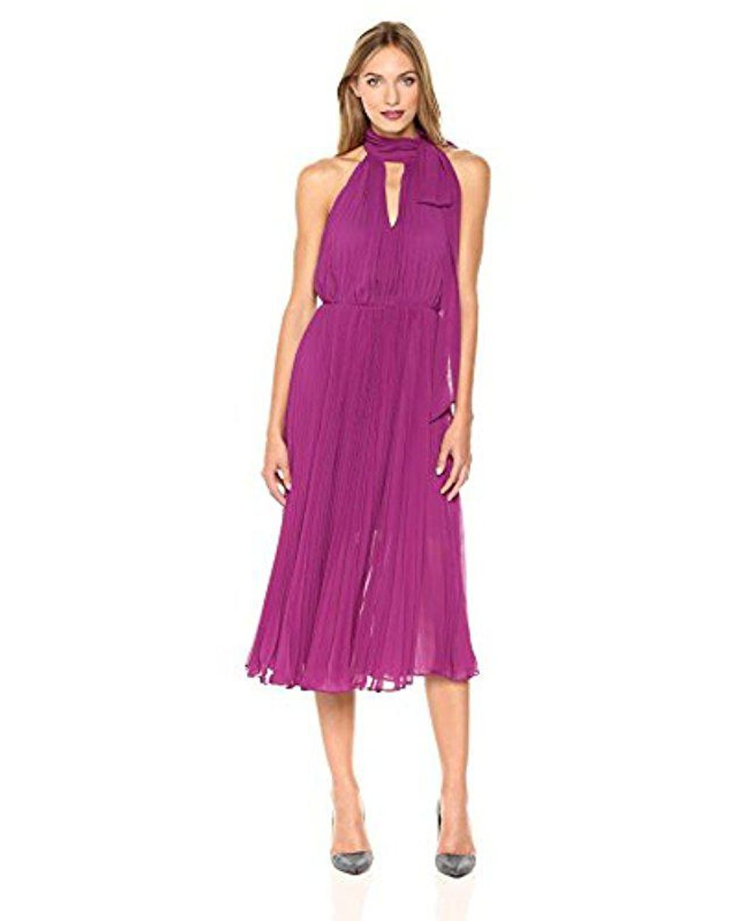 903a3a8d0883 Betsey Johnson Pleated Chiffon Halter Dress in Purple - Save 50% - Lyst
