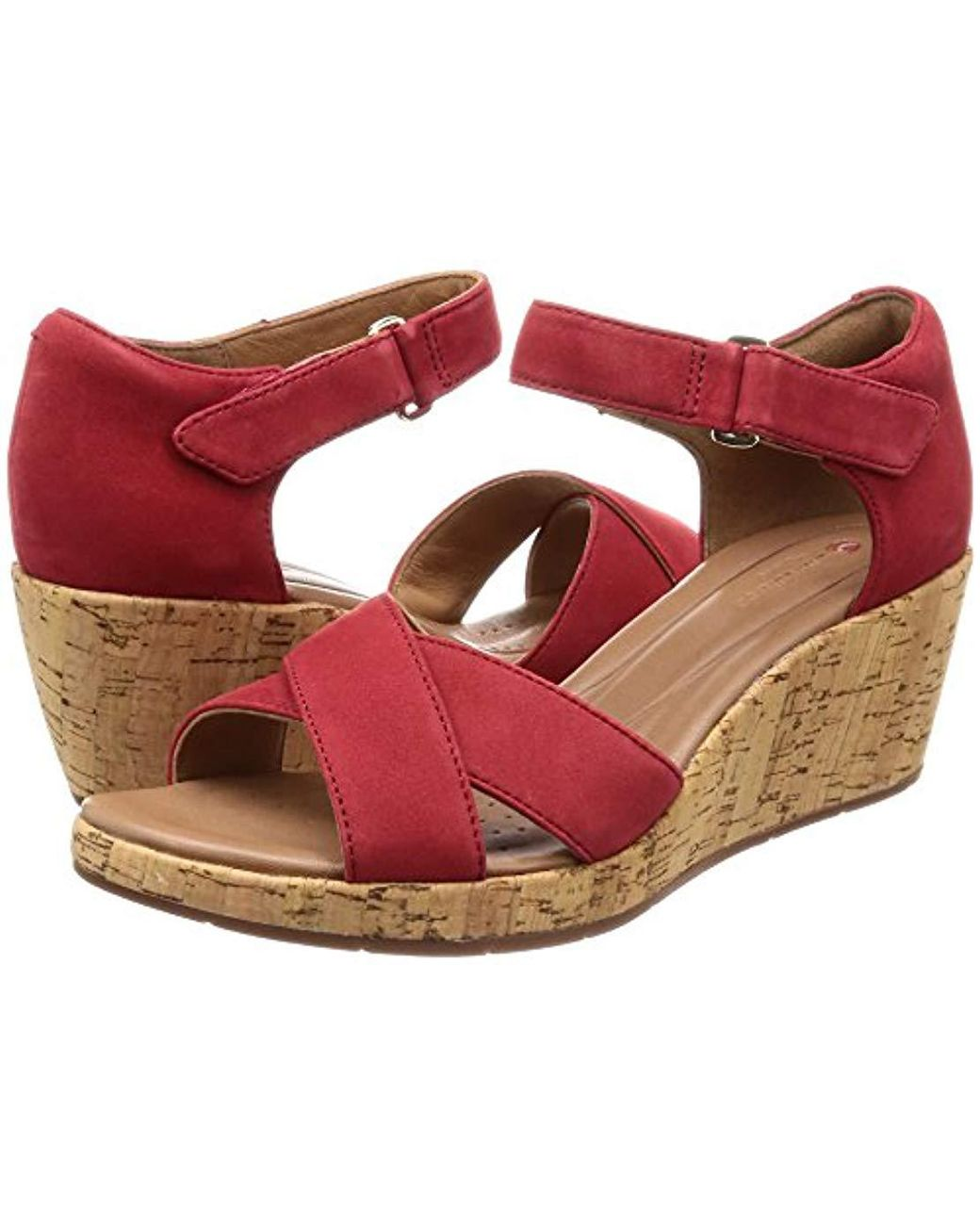 b15644cd5e5 Clarks  s Un Plaza Cross Ankle Strap Sandals in Red - Save 56% - Lyst