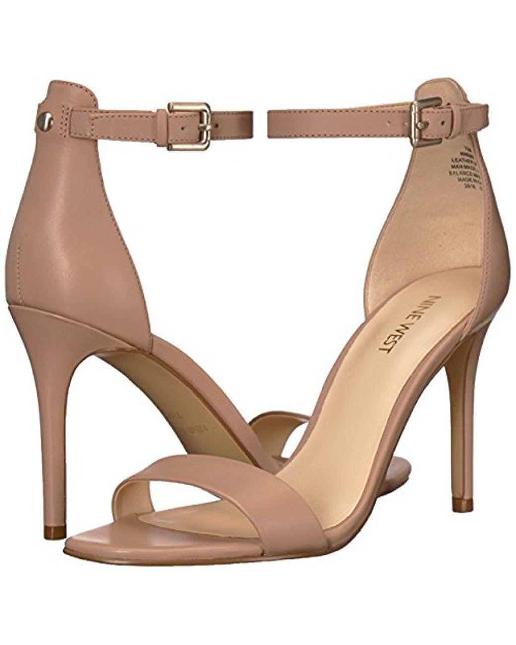 c341465de8ef Lyst - Nine West Mana Leather Heeled Sandal in Natural - Save 75%