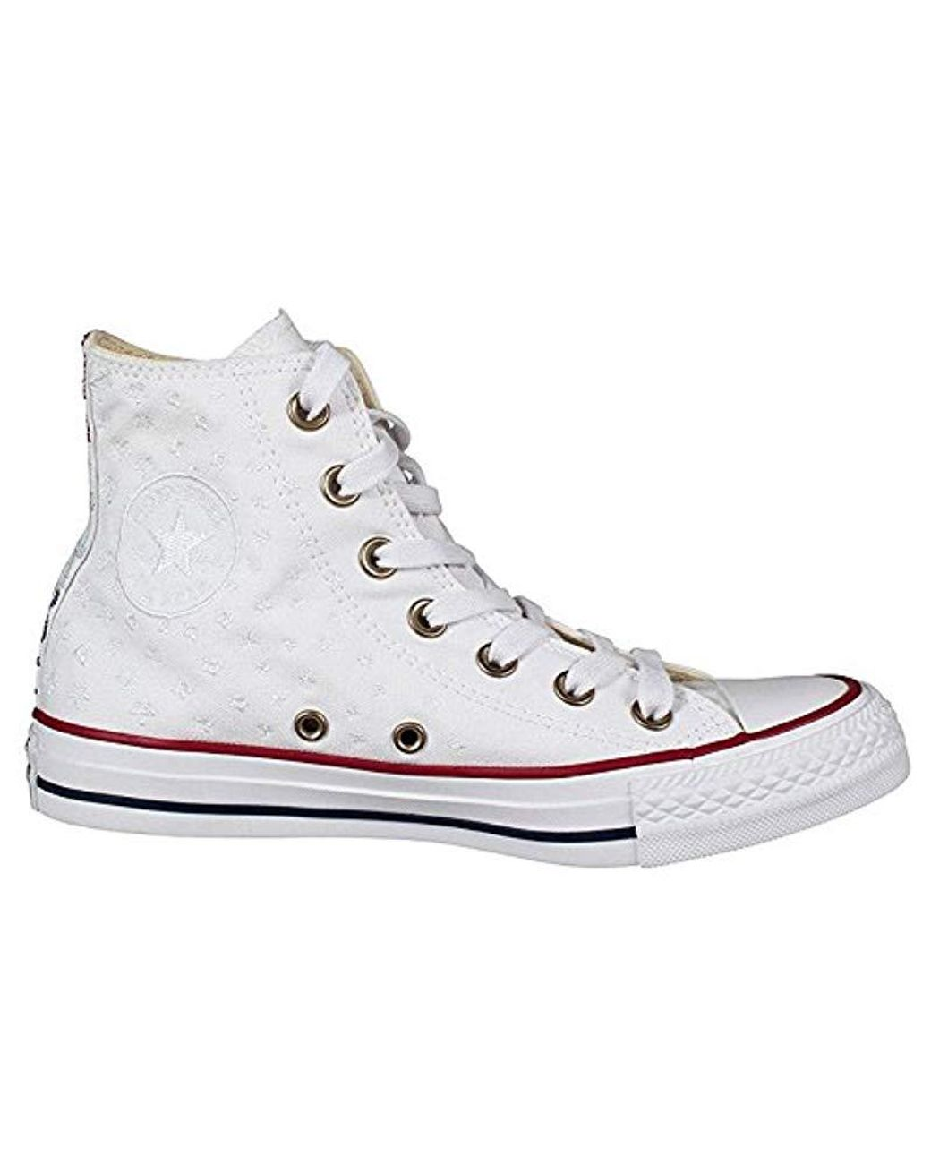 Converse Ladies Chucks 559886c All Star High Sneaker Metallic Finish White