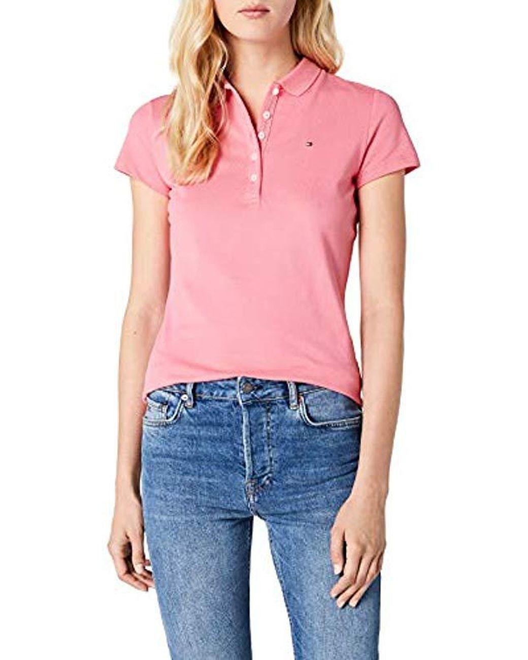 Tommy Hilfiger Womens New Chiara Str Pq Polo Ss Shirt