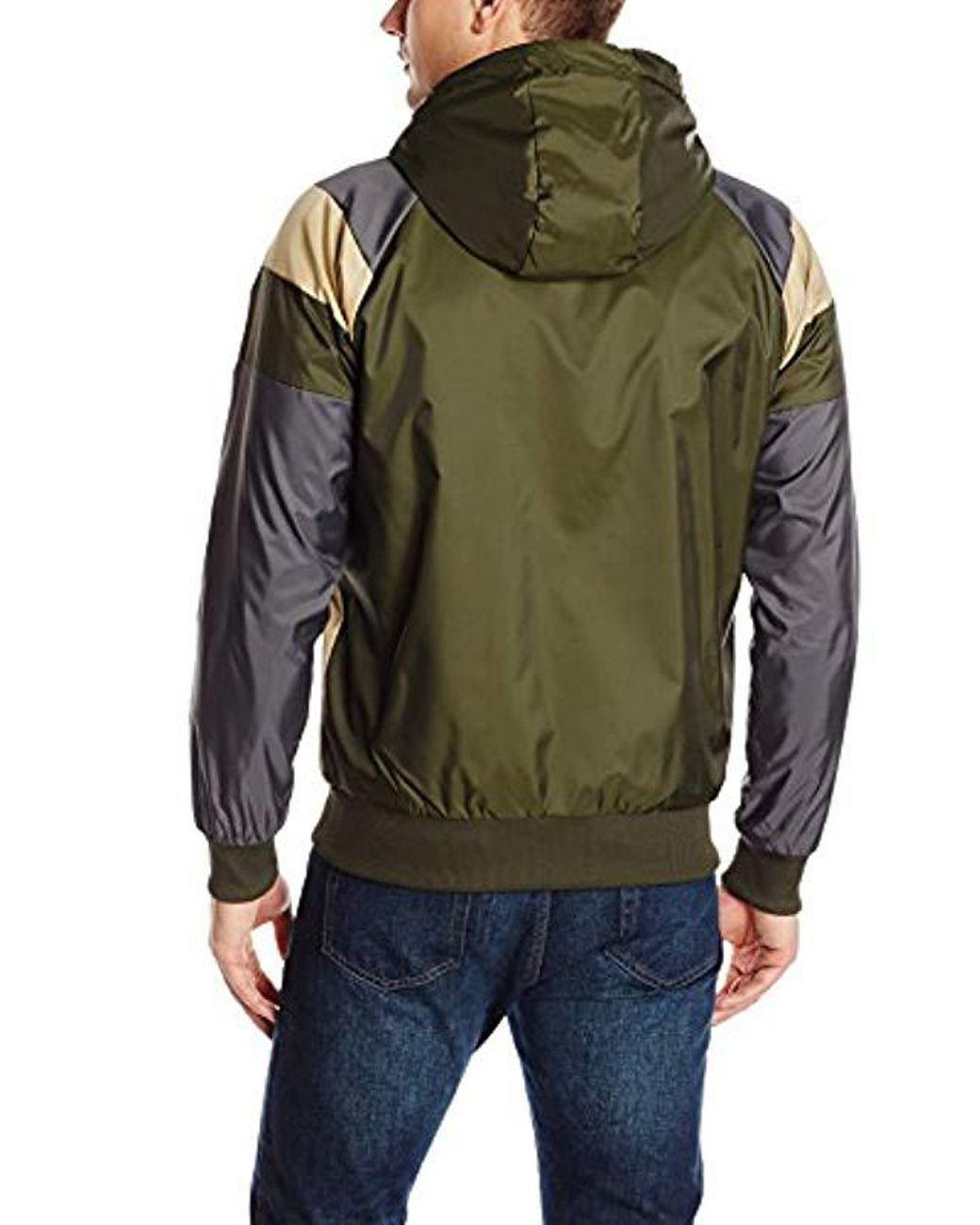 3593fb0574752 Men's Green Winterized Winbreaker Jacket With Sherpa-lined Hood