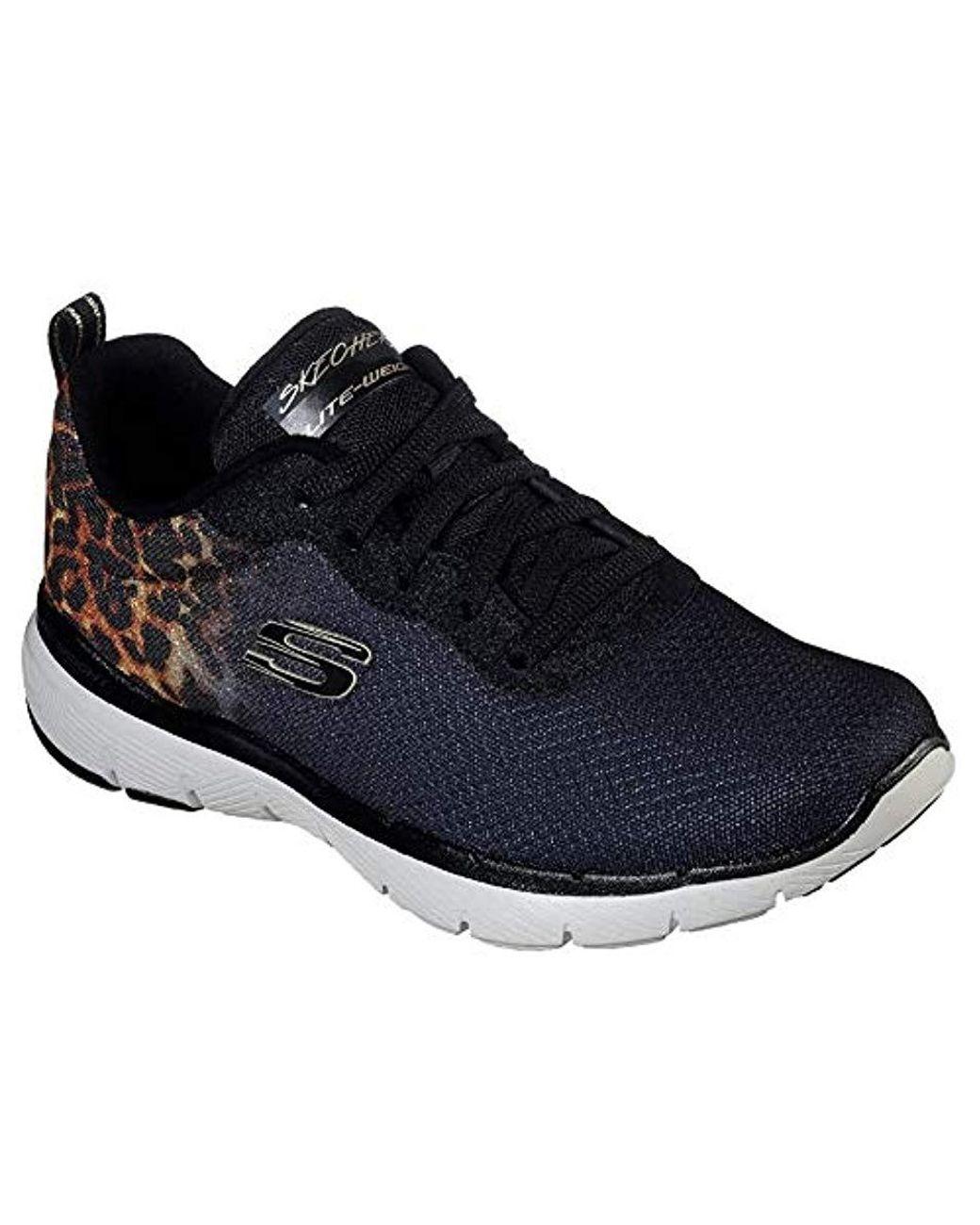 Skechers Skechers Flex Appeal 3.0 Leopard Path zwart bruin sneakers dames