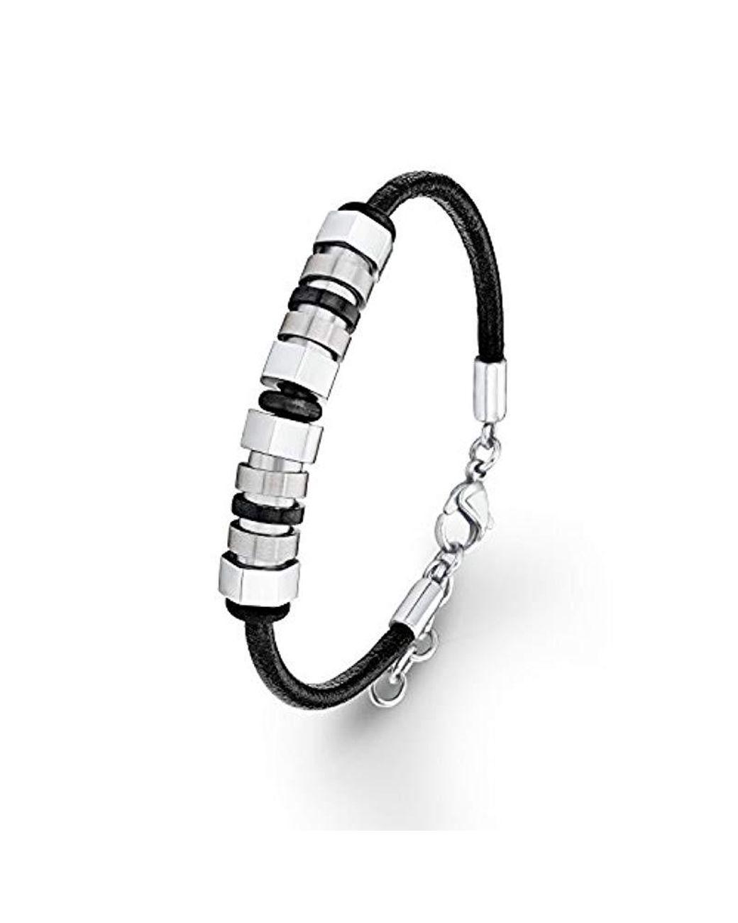 Sortenstile von 2019 tolle Passform outlet S. Oliver Herren-Armband Lederarmband Edelstahl Leder 21 cm in schwarz